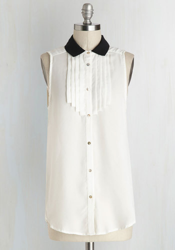 Luminous Tux Top - White, Black, Solid, Pleats, Sleeveless, Good, Sheer, Long, Woven, Buttons, Work, Menswear Inspired, White, Sleeveless