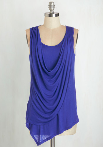 Draped in Delight Top in Royal Blue - Long, Jersey, Knit, Blue, Solid, Casual, Sleeveless, Variation, Cowl, Blue, Sleeveless