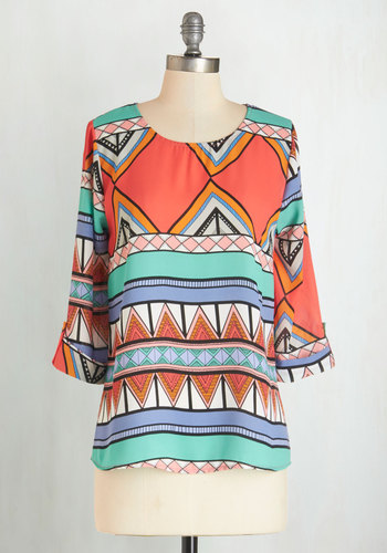 Zoom Bisou Top in Miami - Woven, Multi, Orange, Green, Blue, Print, 3/4 Sleeve, Summer, Multi, 3/4 Sleeve, Variation, Casual
