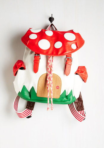 Fungi House Backpack - Faux Leather, Red, Multi, Braided, Buckles, Pockets, Kawaii, Mushrooms, Casual, Travel, Quirky, White, Scholastic/Collegiate, Statement, Top Rated
