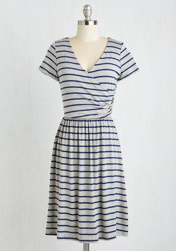 Botanical Breakfast Dress in Navy Stripes