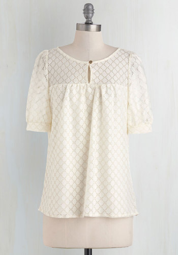 That's Demure Like It Top - Cream, Solid, Buttons, Lace, Short Sleeves, Work, Casual, Vintage Inspired, Mid-length, Sheer, Lace, White, Short Sleeve, Spring, Summer, Good