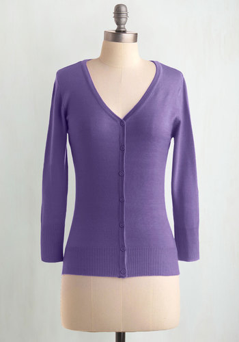 Charter School Cardigan in Orchid - Casual, Purple, Solid, Buttons, Work, Scholastic/Collegiate, Best Seller, Button Down, Minimal, V Neck, 3/4 Sleeve, Variation, Pinup, Winter, Daytime Party, Basic, Fall, Purple, 3/4 Sleeve, Spring, Wedding, Mid-length, Gals, Knit, As You Wish Sale, Top Rated