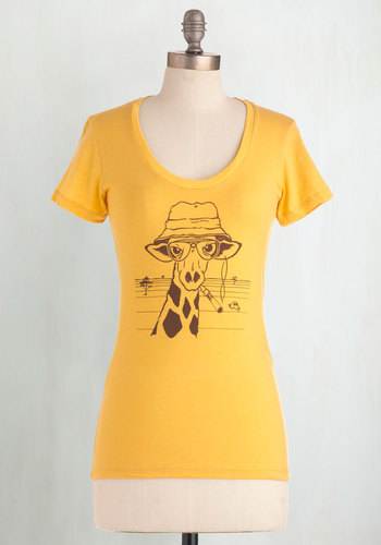 My Neck of the Woods Top - Yellow, Print with Animals, Casual, Safari, Short Sleeves, Brown, Mid-length, Scoop, Travel, Yellow, Short Sleeve