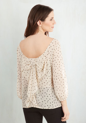 Flash Fete Top in Dots - Polka Dots, 3/4 Sleeve, Cream, Bows, Ruffles, Work, White, 3/4 Sleeve, Spring, Mid-length, Top Rated