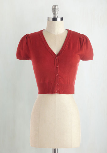 There's an Apple for That Cardigan in Red - Short, Red, Solid, Buttons, Casual, Short Sleeves, Daytime Party, Basic, Work, Red, Short Sleeve, Valentine's, Americana, Top Rated