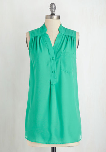 Girl about Scranton Tunic in Turquoise by Myrtlewood - Long, Chiffon, Sheer, Woven, Green, Solid, Buttons, Casual, Sleeveless, Spring, Summer, Exclusives, Variation, Green, Sleeveless, Pockets, Work, Best Seller