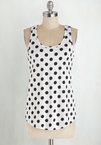 Lively and Lovely Top - Jersey, Knit, White, Polka Dots, Casual, Good, Scoop, White, Sleeveless, Black, Tank top (2 thick straps), Mid-length, Top Rated