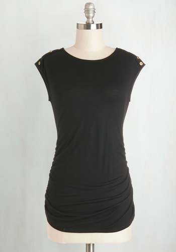 Fluent in Fashion Top in Black - Black, Sleeveless, Knit, Black, Solid, Buttons, Casual, Cap Sleeves, Mid-length, Top Rated