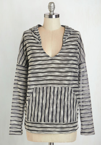 Lakeside Campsite Top - Black, Long Sleeve, Black, Grey, Stripes, Pockets, Casual, Hoodie, Long Sleeve, Fall, Mid-length, Beach/Resort, Top Rated