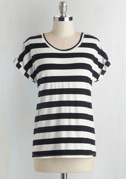 Breezy Basics Top in Monochrome Stripes