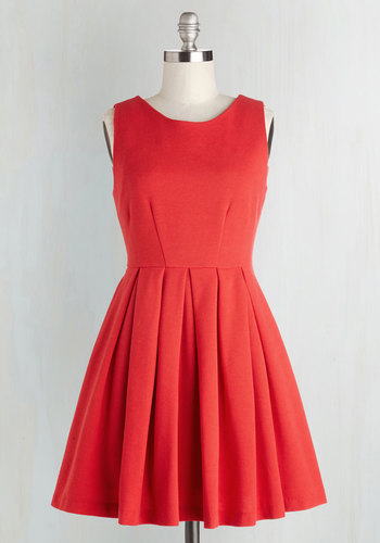 Cue the Compliments Dress - Red, Solid, Pleats, A-line, Sleeveless, Wedding, Party, Vintage Inspired, Bridesmaid, Basic, Valentine's, Short