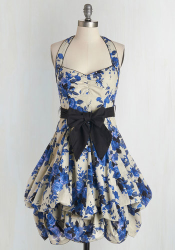 Indigo Gardens Dress - Floral, Vintage Inspired, 50s, Statement, Steampunk, Belted, Cotton, Sweetheart, Pinup, Summer, Best Seller, Print, Daytime Party, Spring, Long, Sleeveless, Fit & Flare, Blue, Tan / Cream, Woven, Exceptional, Wedding Guest, Halter, Sundress
