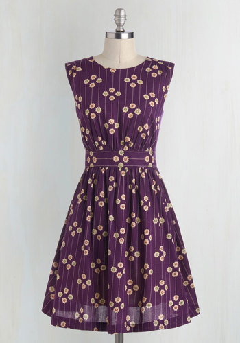 Too Much Fun Dress in Plum Petunias by Emily and Fin - Purple, Tan / Cream, Floral, Vintage Inspired, Sleeveless, Cotton, Pockets, International Designer, Basic, Best Seller, Fall, Full-Size Run, Print, Work, Casual, Mid-length, 70s, Fit & Flare, Top Rated