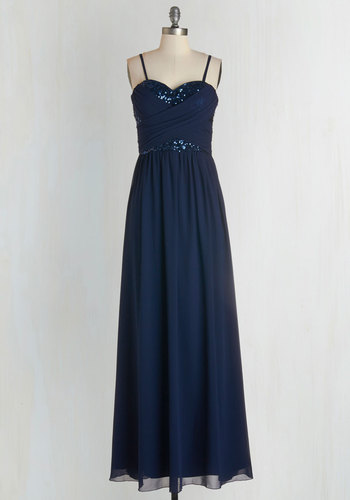 Receiving Line Dress in Navy - Chiffon, Blue, Solid, Sequins, Ruching, Special Occasion, Empire, Maxi, Strapless, Sweetheart, Prom, Wedding, Bridesmaid, Party, Homecoming, Full-Size Run, Top Rated, Long