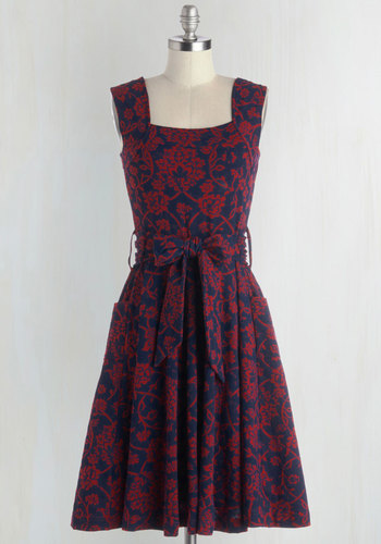 Guest of Honor Dress in Vines by Effie's Heart - Blue, Floral, Pockets, Belted, Sleeveless, Better, Variation, Knit, Best Seller, Fall, Full-Size Run, Long, Fit & Flare, Cotton, Red, Daytime Party, Top Rated, Wedding Guest