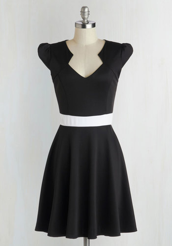 The Story of Citrus Dress in Black - Woven, Black, White, A-line, Cap Sleeves, Good, Solid, Party, Variation, Full-Size Run, Mid-length