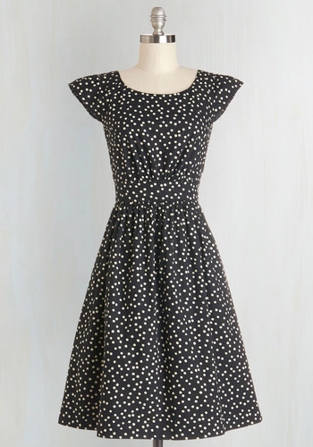 Get What You Dessert Dress in Dots by Emily and Fin - Black, White, Polka Dots, Casual, A-line, Cap Sleeves, Better, International Designer, Cotton, Woven, Pockets, Variation, Scoop, Gifts Sale, Long