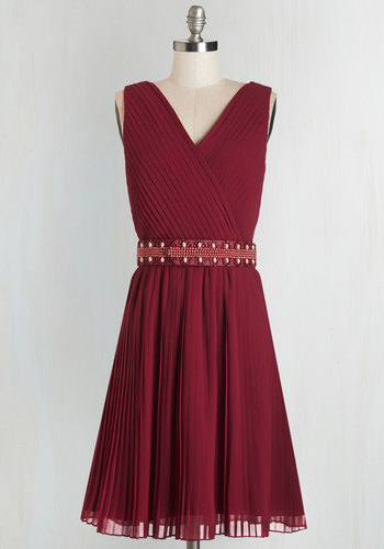 Glitz and Grandeur Dress in Ruby - Long, Woven, Red, Solid, Pearls, Pleats, Special Occasion, Wedding, Bridesmaid, A-line, Sleeveless, Better, V Neck, Beads, Belted, Exclusives, Social Placements, Party, Cocktail, Full-Size Run, Holiday Party, Homecoming, Press Placement, Valentine's, Private Label