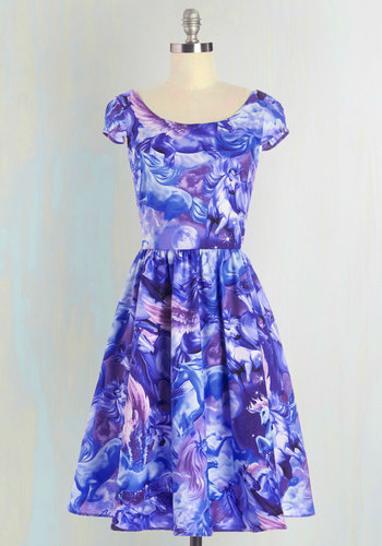 Hooved on a Feeling Dress - Print with Animals, Casual, Cap Sleeves, Woven, Better, Scoop, Cotton, Purple, Fairytale, Long, Fit & Flare