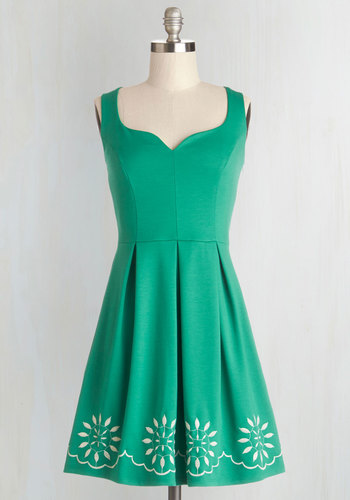 Bright This Way Dress - Knit, Green, White, Embroidery, Casual, A-line, Tank top (2 thick straps), Good, Sweetheart, Mid-length, Full-Size Run