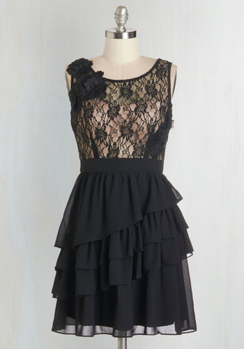 So This is Lovely Dress - Black, Tan / Cream, Lace, Tiered, Prom, A-line, Sleeveless, Woven, Better, Scoop, Mid-length, Lace, Flower, Ruffles, Party, Homecoming