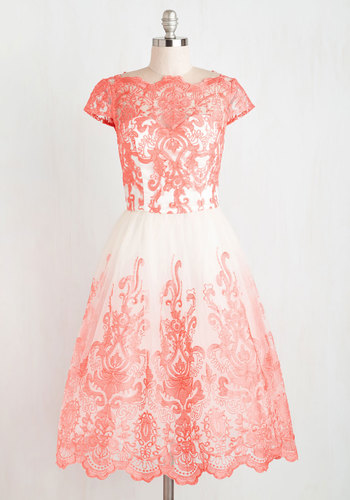 Exquisite Elegance Dress in Coral by Chi Chi London - Long, Tulle, Coral, White, Embroidery, Lace, Special Occasion, Prom, Valentine's, Homecoming, Cap Sleeves, Bridesmaid, Vintage Inspired, 50s, 60s, Ballerina / Tutu, Fit & Flare