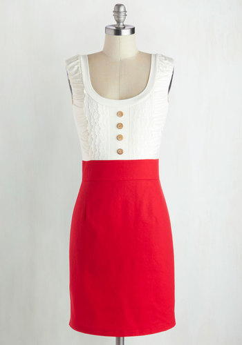 Come in Dandy Dress in Red - Buttons, Casual, Twofer, White, Lace, Scoop, Woven, Mid-length, Top Rated, Colorsplash, Spring, Red, Solid, Sheath, Sleeveless, Good
