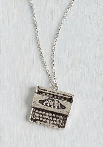 Raise the Typebar Necklace - Silver, Novelty Print, Scholastic/Collegiate, Good, Silver, Gals, Top Rated