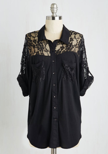 Adventures in Lace Top - Black, Solid, Lace, Casual, Short Sleeves, Buttons, Pockets, Mid-length, Black, Tab Sleeve, Lace