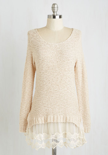 Game of Scones Sweater - Brown, Long Sleeve, Mid-length, Knit, Lace, Tan, Solid, Lace, Tiered, Long Sleeve, Scoop