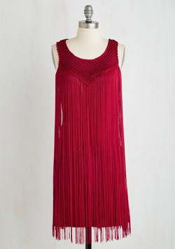 Queen of your Tassel Dress in Ruby