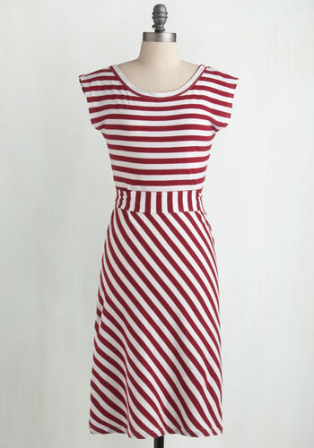Riviera Romance Dress in Wine - Stripes, Casual, Nautical, A-line, Cap Sleeves, Spring, Summer, Red, White, Eco-Friendly, Cotton, Best Seller, Variation, Sundress, Americana, Good, 4th of July Sale, Long, Top Rated