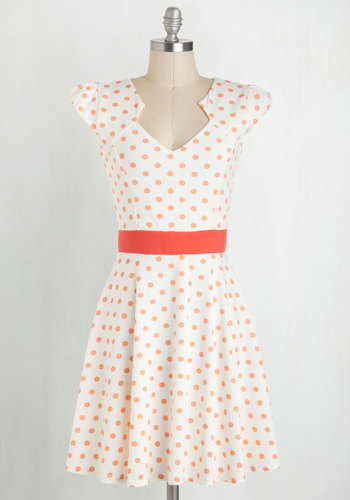 The Story of Citrus Dress in Orange - Polka Dots, White, Orange, A-line, Cap Sleeves, Daytime Party, Vintage Inspired, 40s, Graduation, Spring, Summer, WPI, Mid-length, Top Rated