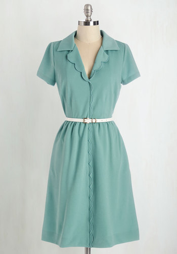 Literary Connoisseur Dress by Myrtlewood - Mint, Solid, Belted, Casual, Shirt Dress, Short Sleeves, Better, Collared, Pockets, Scallops, Vintage Inspired, 40s, Exclusives, Private Label, Full-Size Run, Long, Work, Daytime Party, Pastel