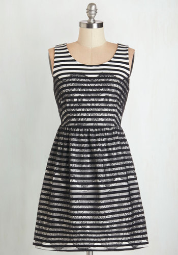 Charmed by Chance Dress - Black, White, Stripes, Lace, Party, A-line, Sleeveless, Knit, Better, Scoop, Short, Lace