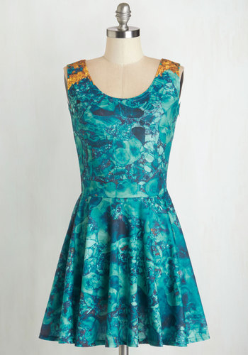 Found a Keeper Dress - Short, Blue, Yellow, Print, Casual, A-line, Sleeveless, Knit, Better, Scoop