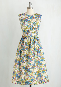 Too Much Fun Dress in Painted Flowers - Long