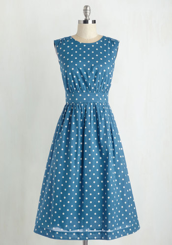 Too Much Fun Dress in Blue Dots - Long by Emily and Fin - Blue, Polka Dots, Print, Pockets, Casual, 50s, 60s, Sleeveless, Best Seller, International Designer, Variation, Long, Vintage Inspired, Cotton, Fit & Flare