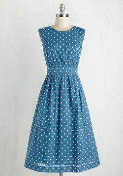 Too Much Fun Dress in Blue Dots - Long