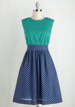 Too Much Fun Dress in Teal Dots