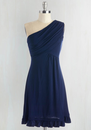 Midnight Sun Dress in Navy - Blue, Solid, Ruffles, Casual, A-line, One Shoulder, Jersey, Best Seller, Ruching, Cover-up, Summer, Mid-length, Good, Top Rated