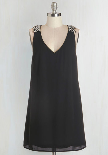 More to Love Dress - Black, Solid, Rhinestones, Shift, Sleeveless, Woven, Better, V Neck, Party, LBD, Tent / Trapeze, Prom, Girls Night Out