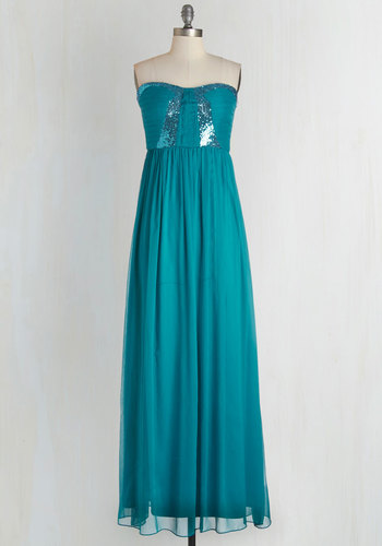 Stop! Glamour Time Dress in Aqua - Solid, Sequins, Special Occasion, Wedding, Bridesmaid, Homecoming, Maxi, Strapless, Woven, Better, Sweetheart, Long, Chiffon, Blue, Prom, Variation