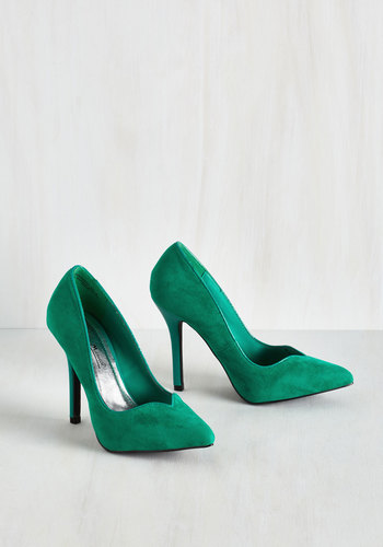 Impromptu and Posh Heel - High, Green, Solid, Prom, Wedding, Party, Work, Cocktail, Girls Night Out, Holiday Party, Vintage Inspired, 20s, Minimal, Good, 30s, 40s