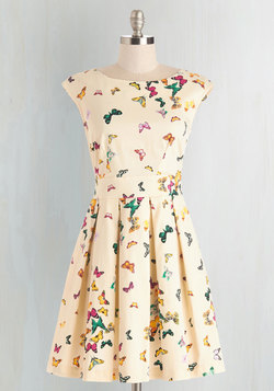 Fluttering Romance Dress in Colorful Butterflies