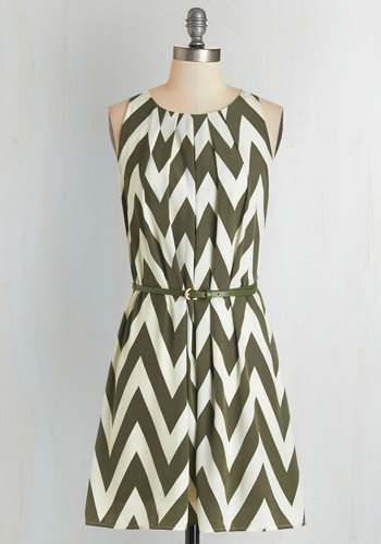 Great Wavelengths Dress in Olive - Green, Chevron, Pleats, Belted, Casual, A-line, Sleeveless, Fall, Woven, Good, Scoop, Tan / Cream, Variation, Print, Mid-length