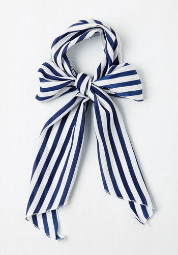 Bow to Stern Scarf in Navy Stripes - Nautical, Vintage Inspired, Stripes, Blue, White, Pinup, Basic, Woven, Spring, Beach/Resort
