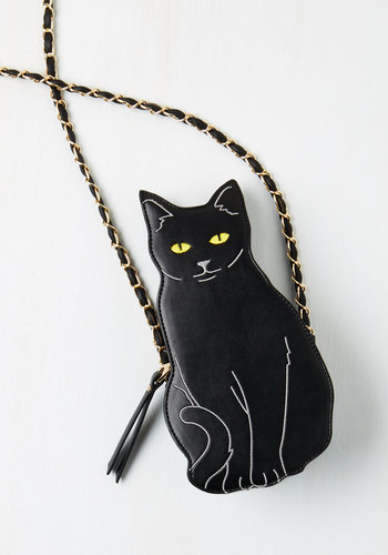 Cat to the Chase Bag - Black, Multi, Quirky, Cats, Darling, Faux Leather, Halloween, Critters