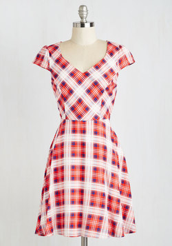 Work This Way Dress in Red Plaid